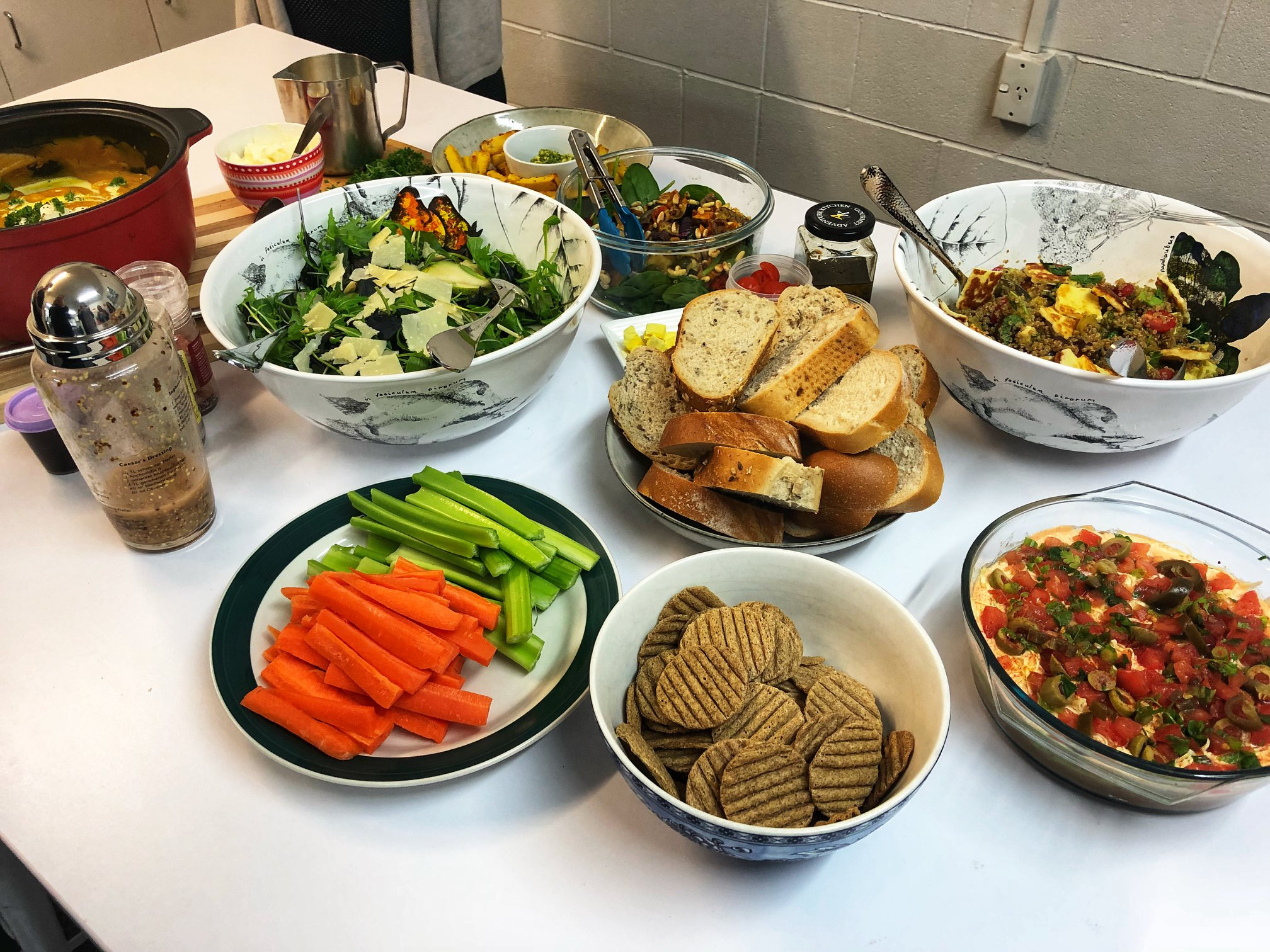 Shared healthy winter lunch