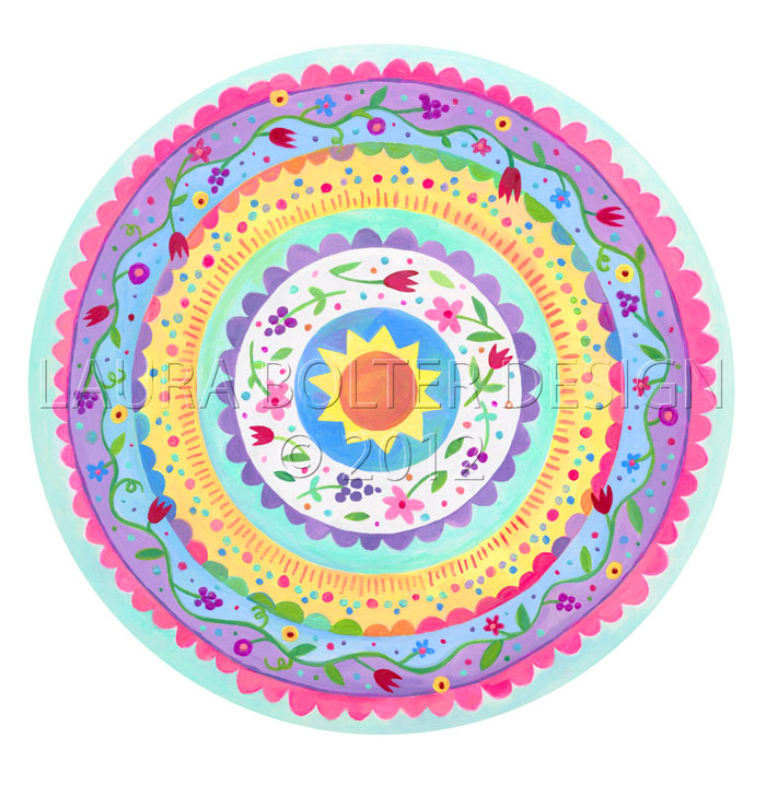 Flower Mandala Painting, acrylics on watercolor paper by Laura Bolter