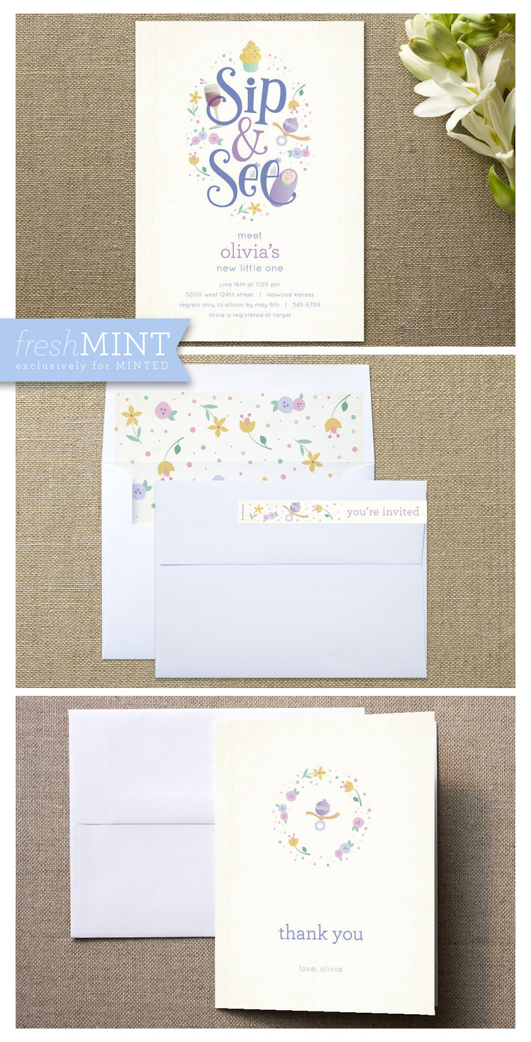 Sweet Sip and See baby shower invitation