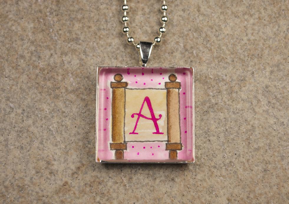"""Pink Torah """"A"""" Initial Pendant"""