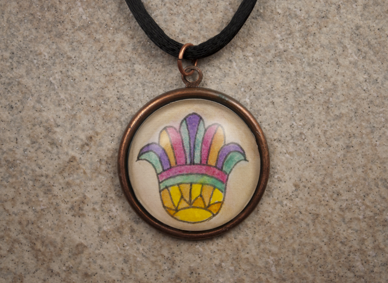 Hand painted Hamsa copper pendant