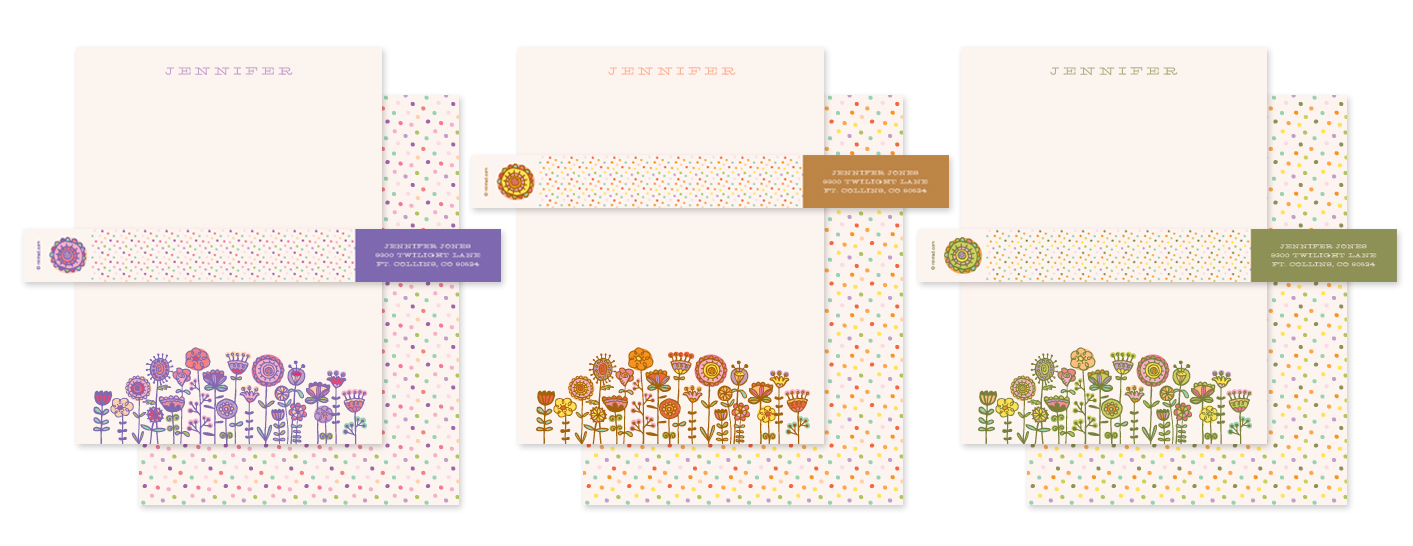 Doodle Flowers Minted Stationery