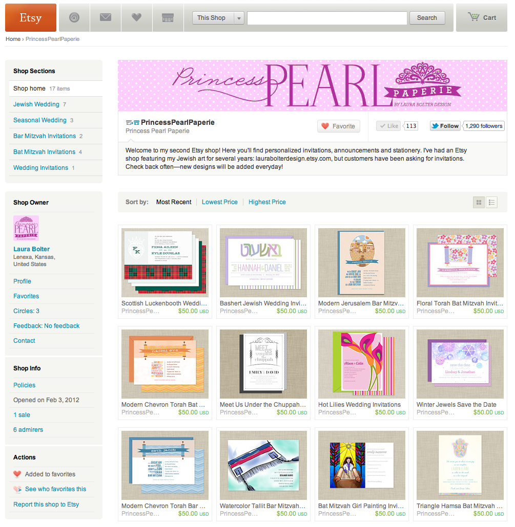 Princess Pearl Paperie Etsy Shop