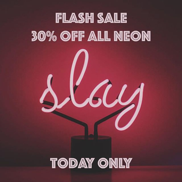 """Dashing through the snow, on a one horse open """"slay""""....or whatever. 30% off all Neon for the next 5 hours. In store + online. #neonsign #studiocity #flashsale"""