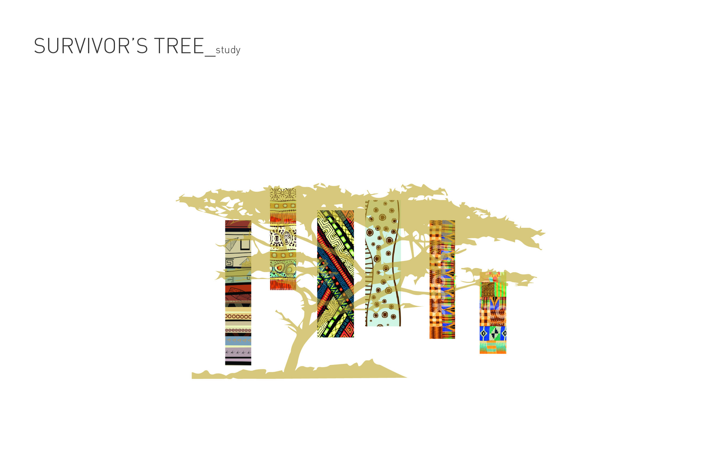 The client requested that we include a photo of the Survivor's Tree in the brochure. It became a central motif in the brochure. Here I've used it in a graphical way to show how textiles will become a part of the overarching concept of this piece.
