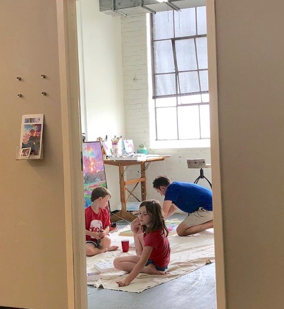 My children and I in the studio making art together. - May 2018