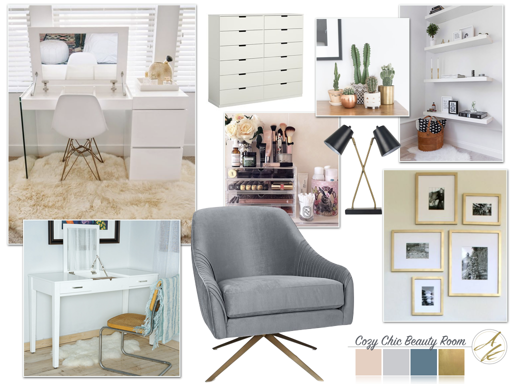 Albie Knows Mood Board Monday: Cozy Chic Beauty Room
