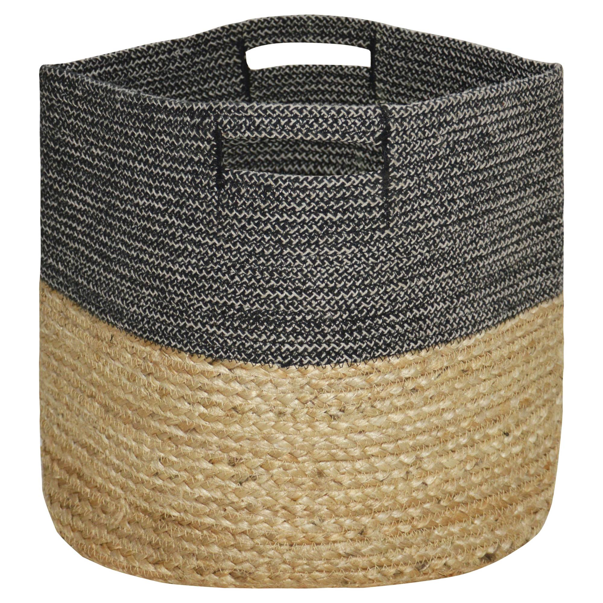 Large Round Woven Storage Basket, Dark Grey