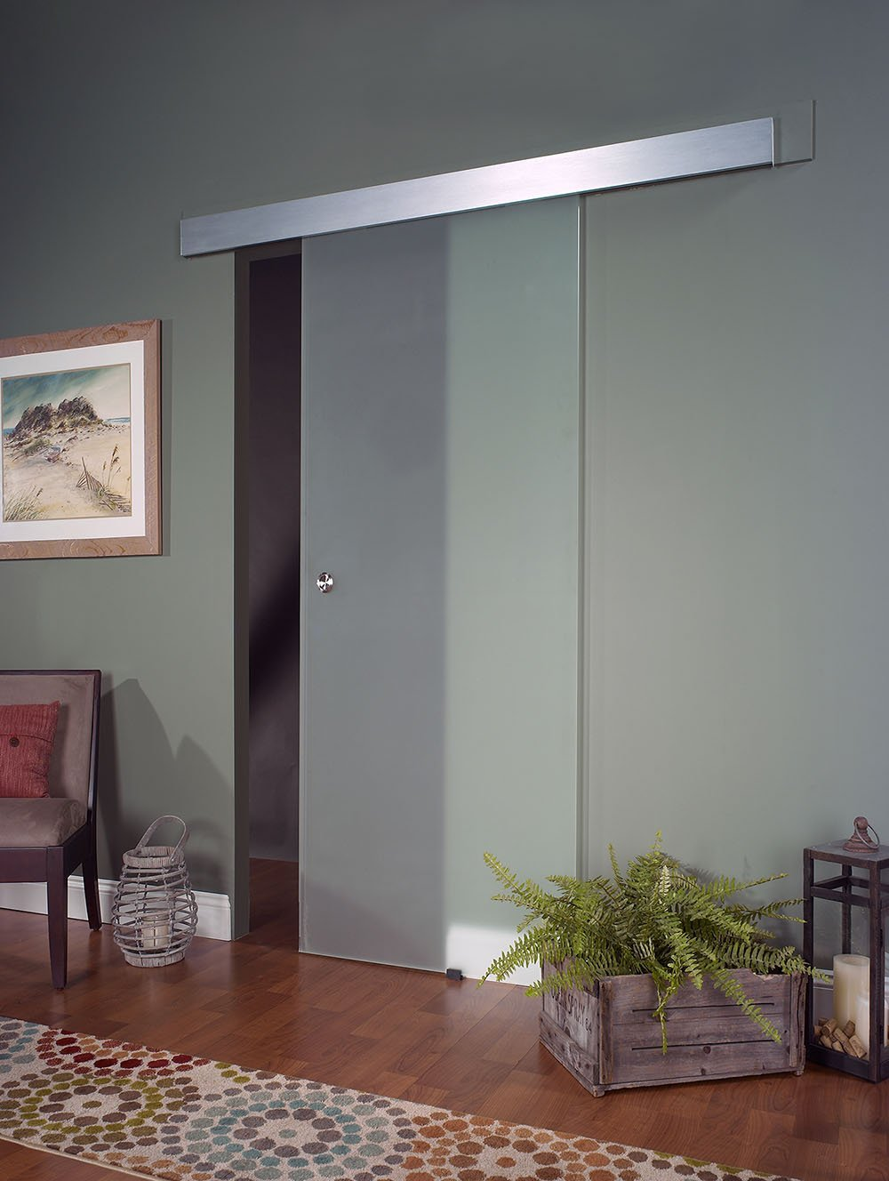 Opaque Interior Glass Barn Door