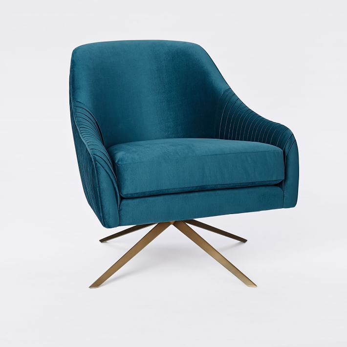 Roar + Rabbit Swivel Chair, Celestial Blue Lustre Velvet