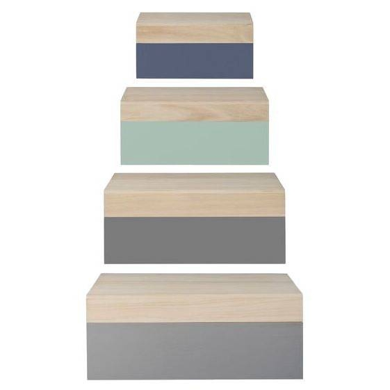 Wood Storage Boxes - Grey/Mint Set of 4