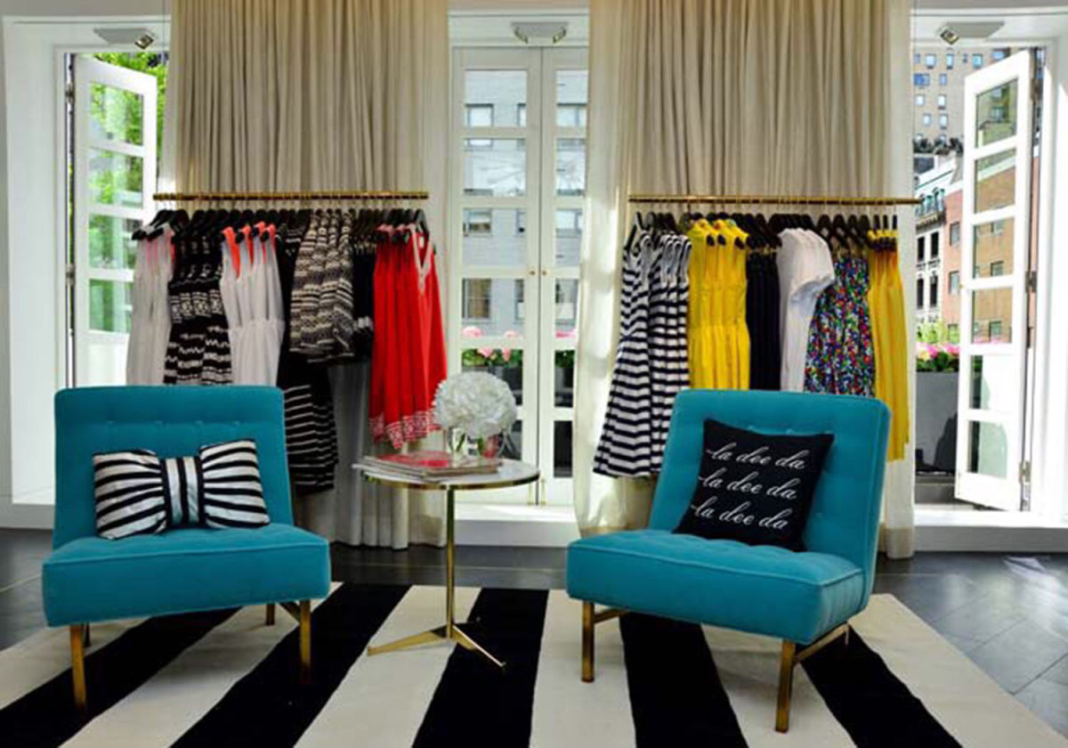 """""""This lounge area needed to truly feel like a lounge, not some unattainable fashion museum. Bold stripes and pops of color say 'fun times ahead!'"""""""