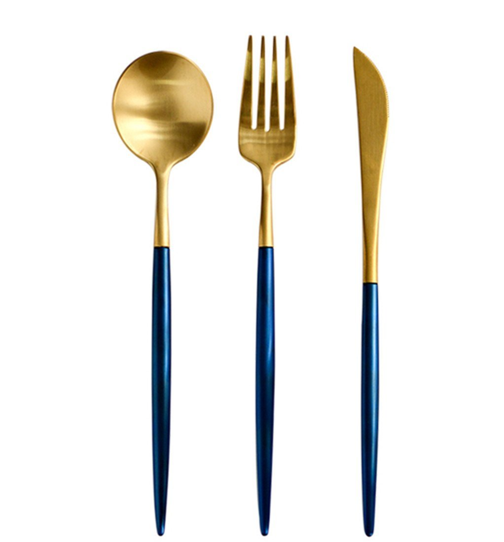 Jinsen Customized Stainless Steel Flatware Set, Blue & Gold