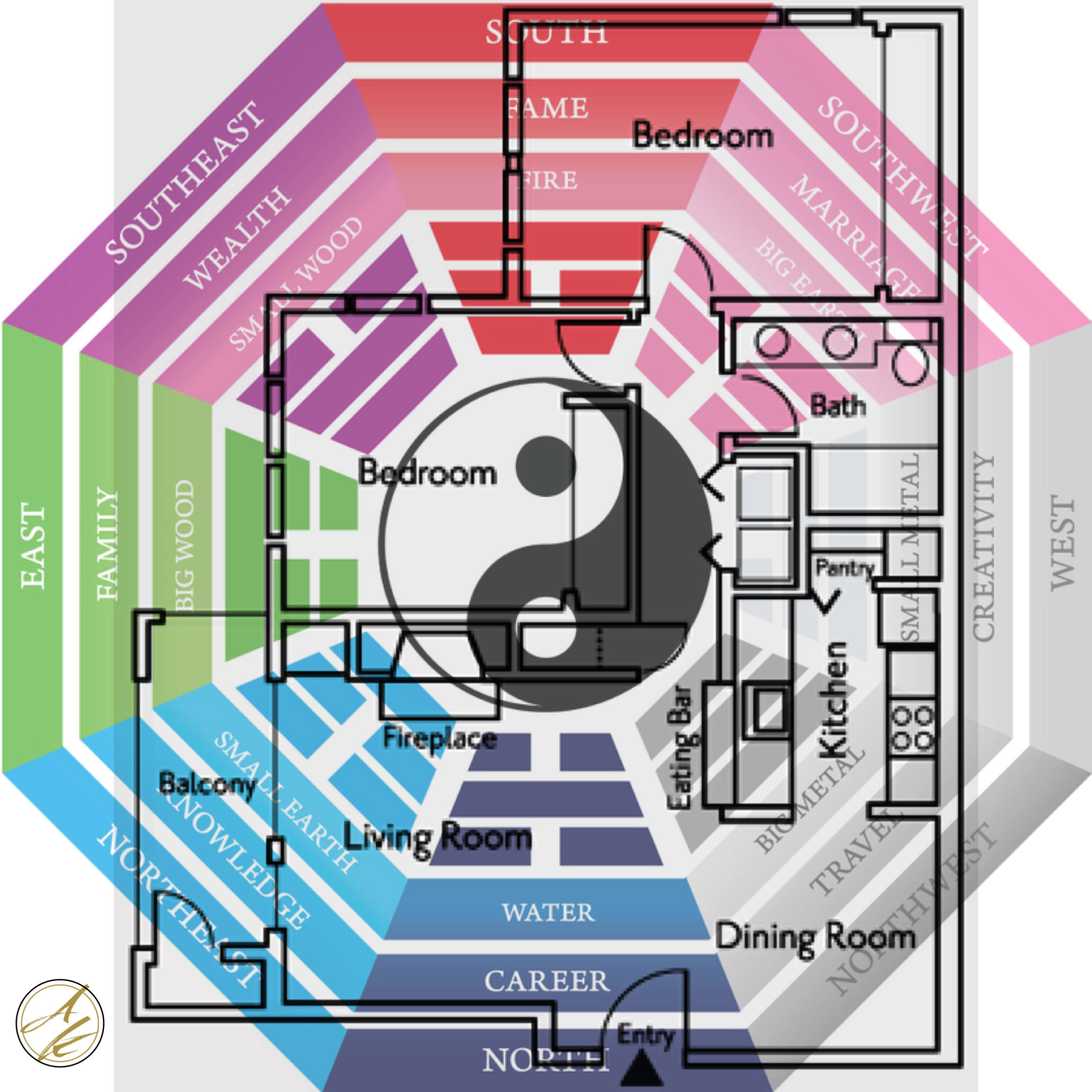 Albie Knows Floor Plan & Bagua Map Overlay