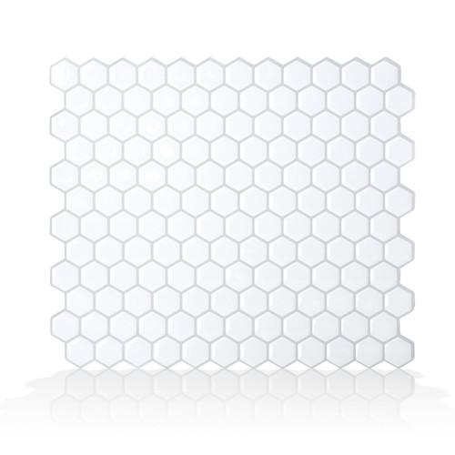 "Mosaik Hexago 11.27"" x 9.63"" Peel & Stick Mosaic Tile in White"