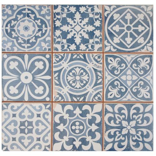 "Faventie Azul 13"" x 13"" Ceramic Field Tile in Blue"