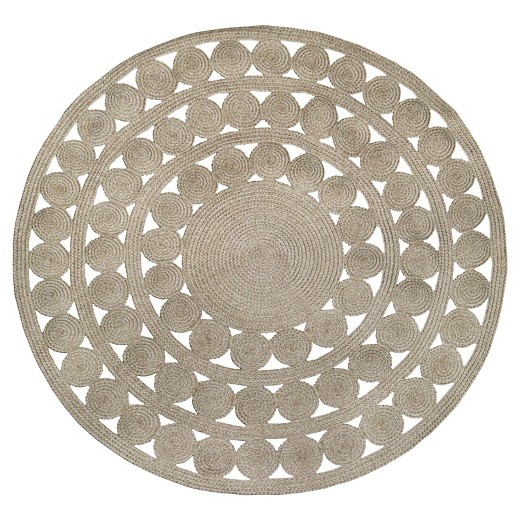 Ornate Natural Woven Round Outdoor Rug