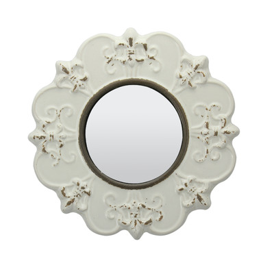 Traditional Worn Ceramic Distressed Wall Mirror