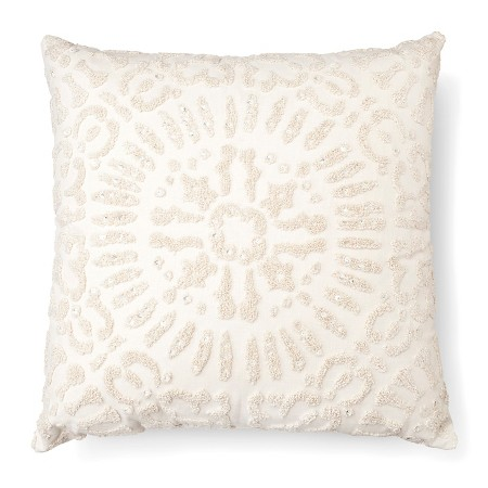 "Cream Embellished Medallion Square Throw Pillow (18""x18"")"