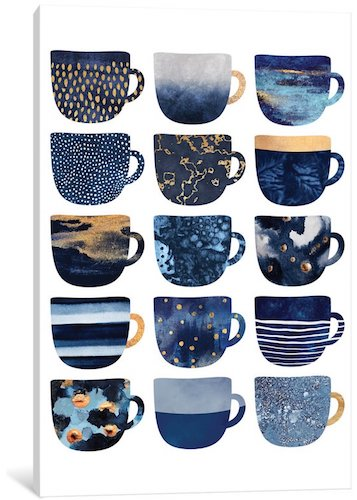 'Pretty Coffee Cups' Graphic Art Print on Canvas