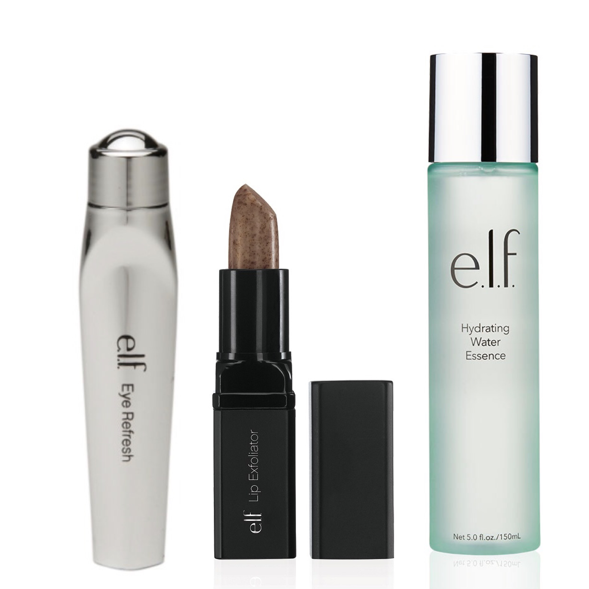 e.l.f. Skincare Products: Eye Refresh, Lip Exfoliator, Hydrating Water Essence