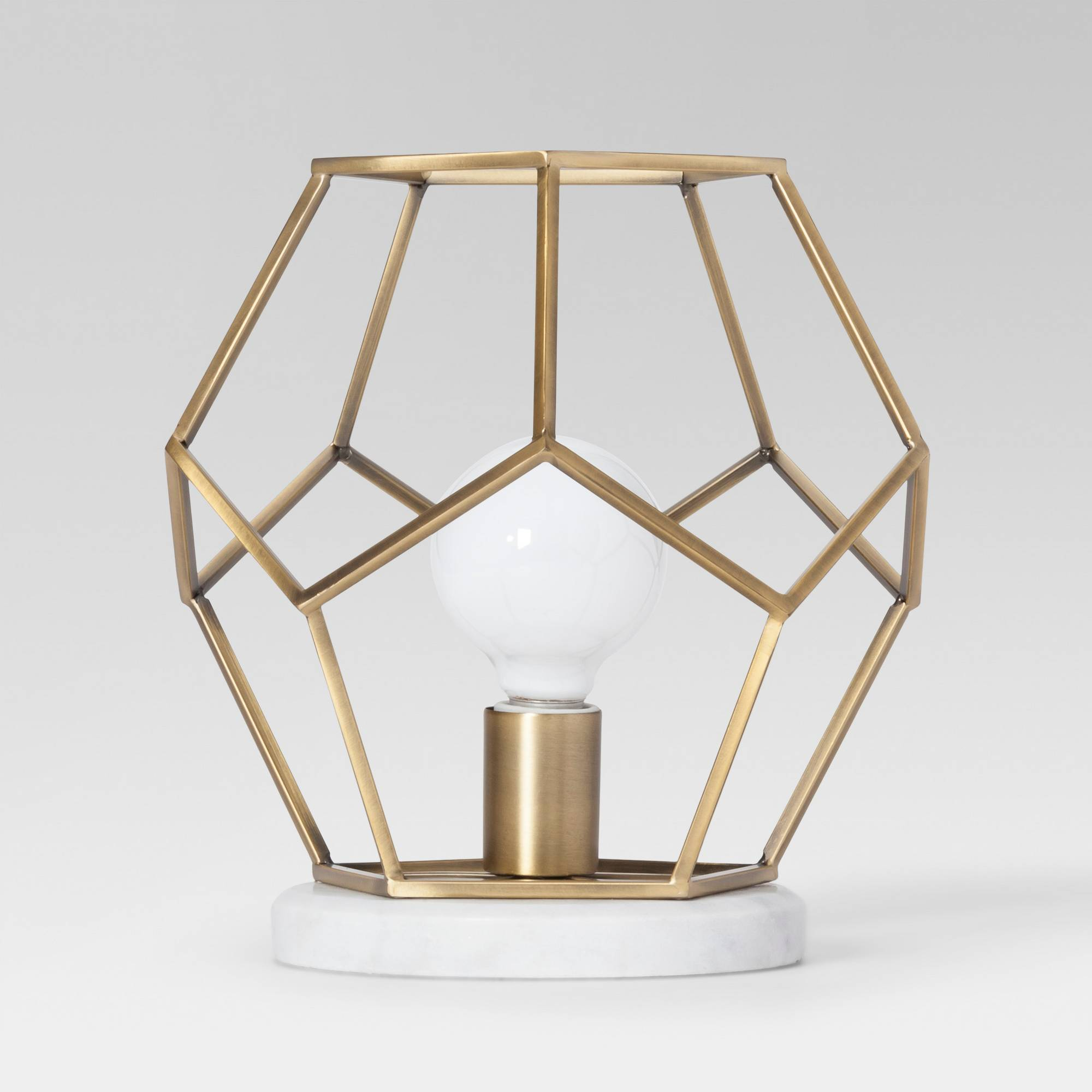 Geometric Brass with Marble Accent Lamp