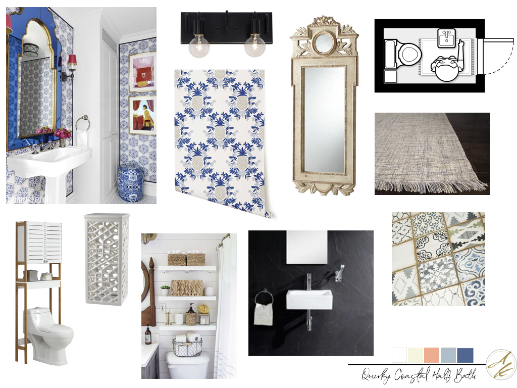 Mood Board Monday Quirky Coastal Half Bath By Albie Knows Interior Design Decor Styling Home Organization