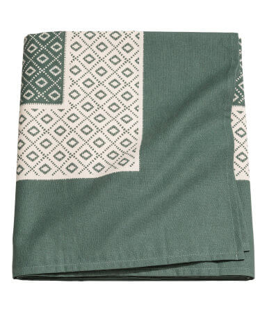 Moss Green Patterned Cotton Tablecloth