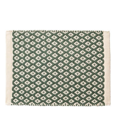 Natural White/Moss Green Jacquard-Weave Placemat