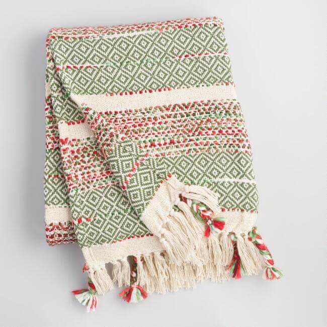 Red And Green Woven Holiday Throw
