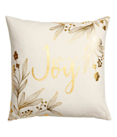 White/Gold Christmas-Print Cushion Cover