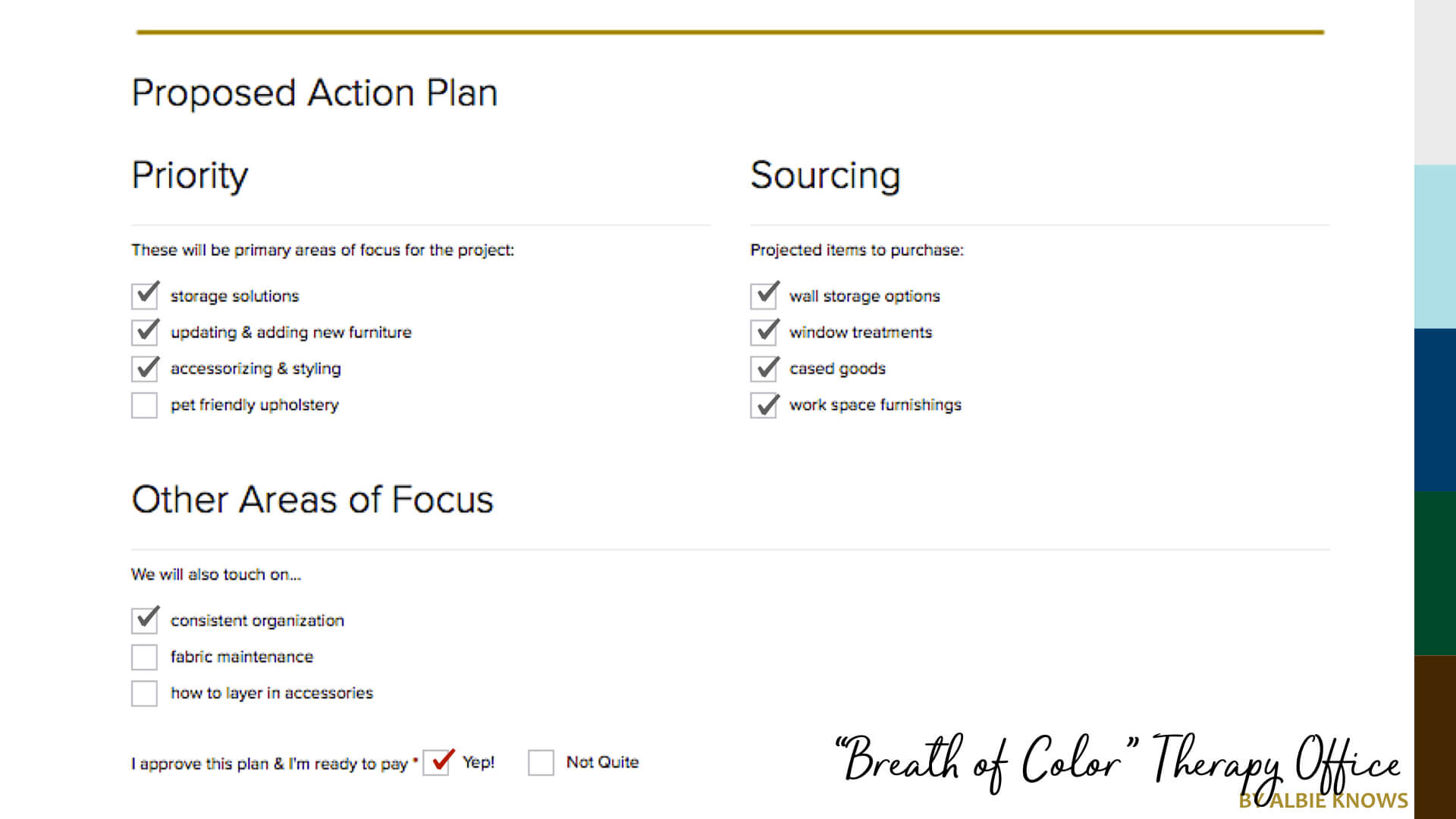 Creative Therapy Office Action Plan by Albie Knows