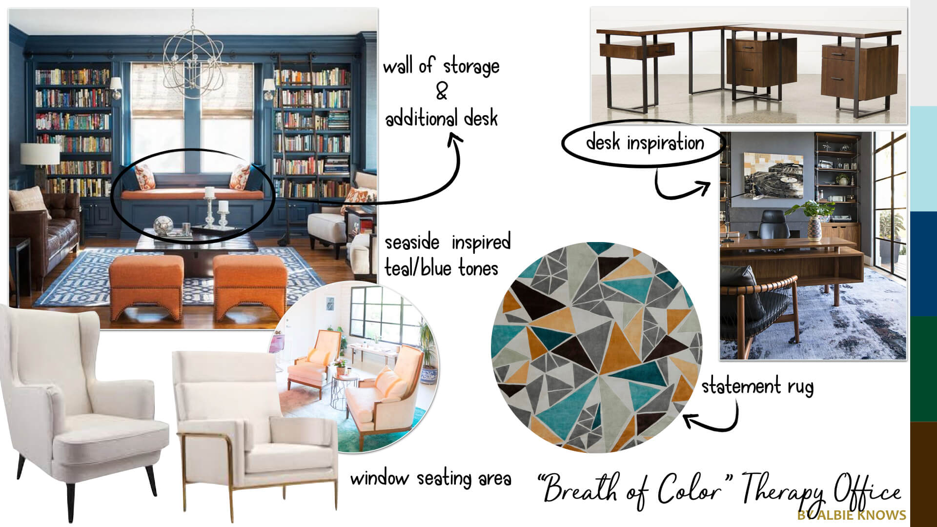 Creative Therapy Office Mood Board by Albie Knows