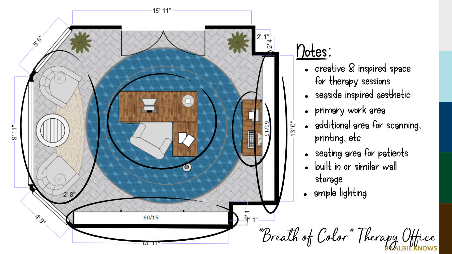 Creative Therapy Office Space Plan by Albie Knows
