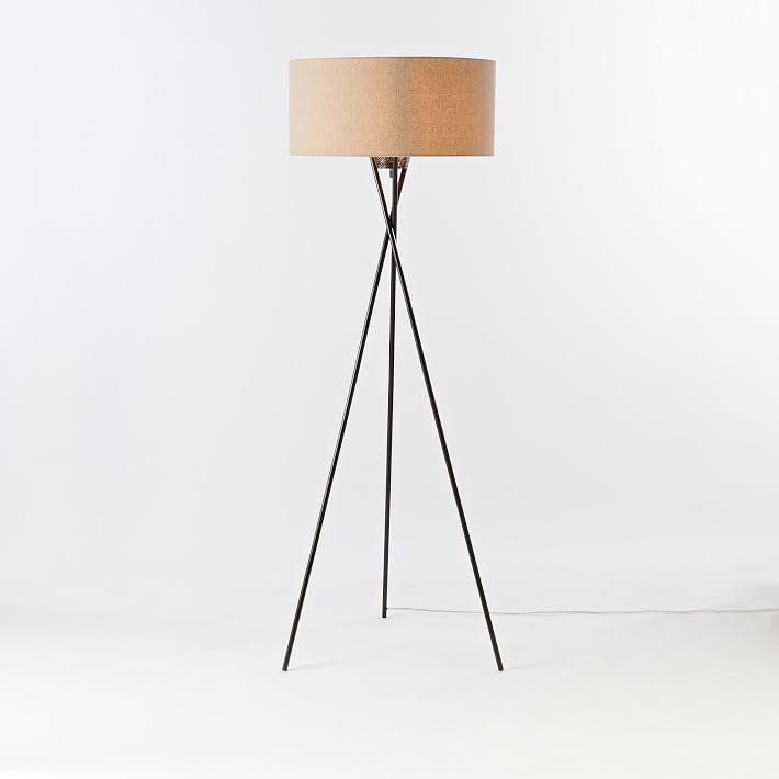 Antique Bronze Mid-Century Tripod Floor Lamp