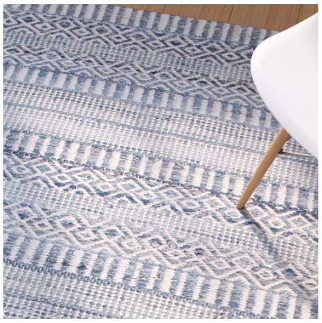 Firenze Hand-Woven Wool Ivory/Blue Area Rug