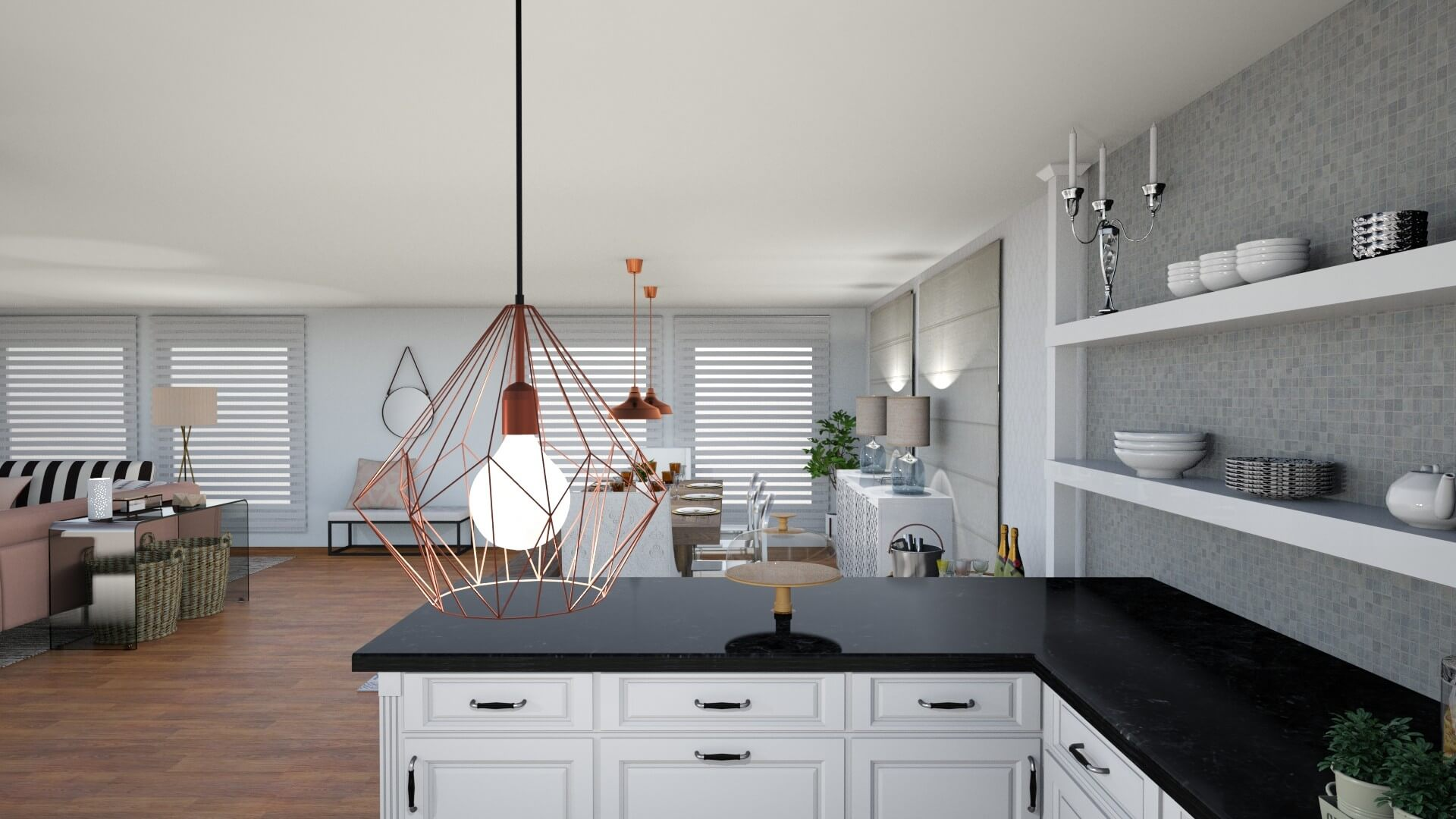 Sassy Charm L.A. Apartment by Albie Knows - Kitchen Lighting Detail