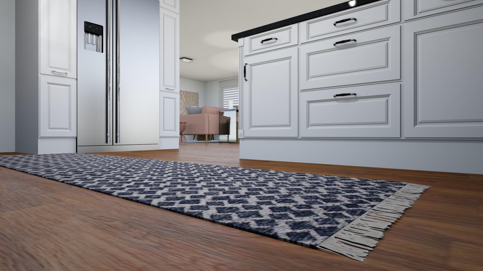 Sassy Charm L.A. Apartment by Albie Knows - Kitchen Runner Detail.jpg