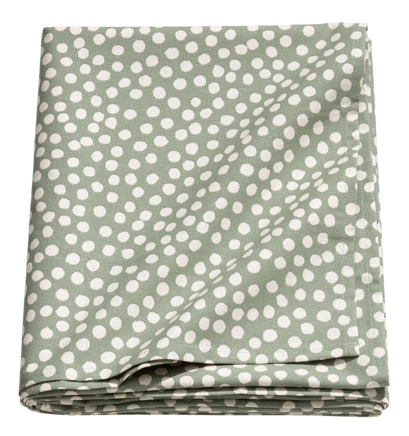 Albie Knows OR -- Tablecloth in Green & White (H&M Home)