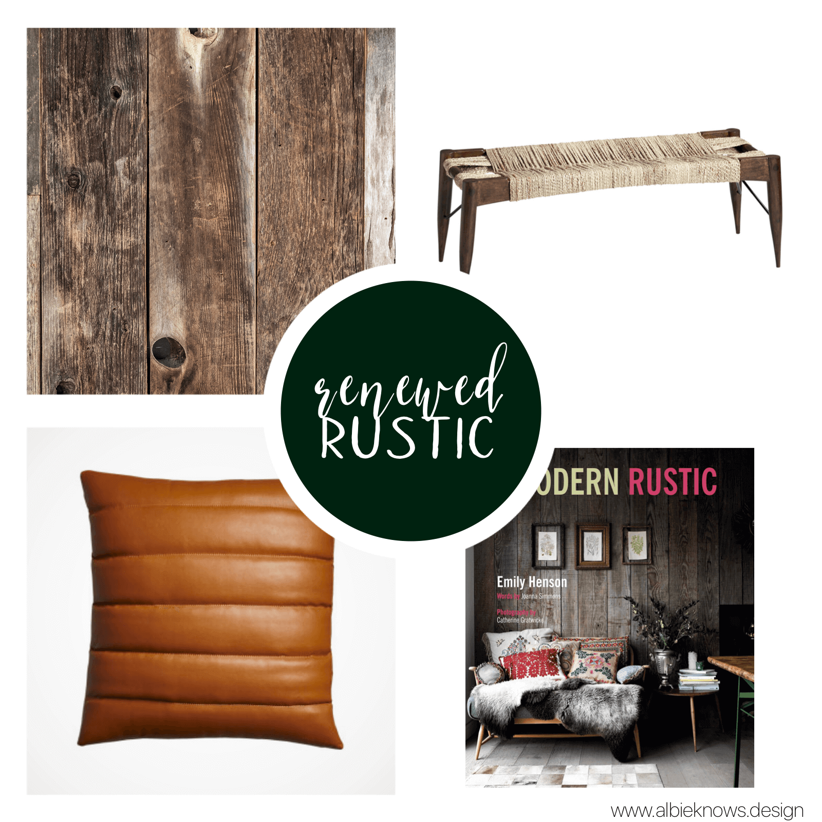 """You're inspired by the natural world and attracted to rugged design & worn materials, for a """"lived in"""" feel. Weathered woods, natural textiles, and distressed metals all speak to your love of simple, home-grown charm.    READ MORE"""