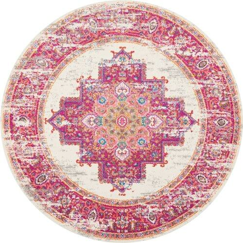 Passion Distressed Vintage Ivory/Fuschia Area Rug