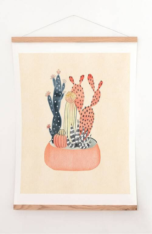 Cactus Print & Oak Hanger