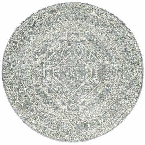 Adirondack Collection Slate and Ivory Oriental Vintage Medallion Round Area Rug | Amazon
