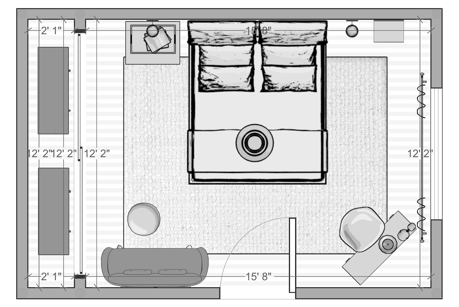 One Room Challenge - Albie Knows Hygge Master Bedroom - Space Plan