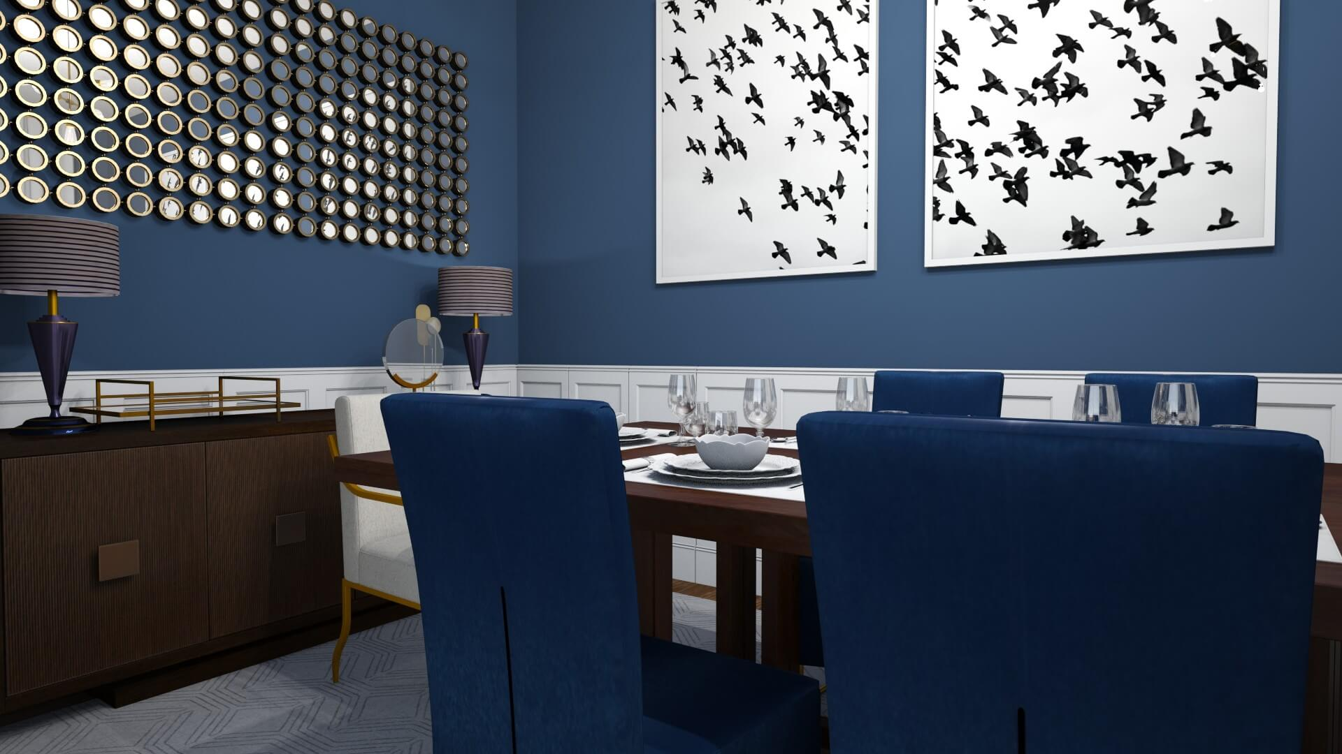 Dramatic Glam Dining Room by Albie Knows
