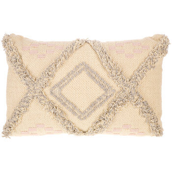 Grey & Blush Boho Textured Diamond Pillow | Hobby Lobby