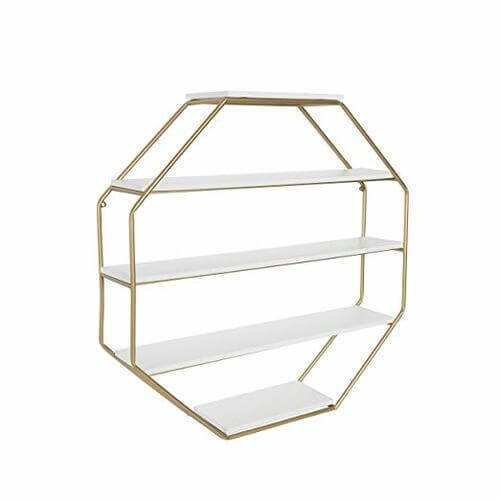 Metal Frame Octagon Floating Wall Shelves