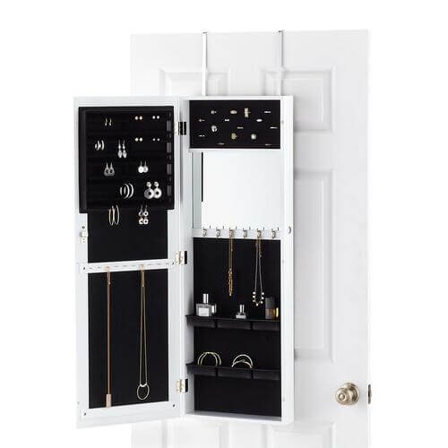 White Over the Door Mirror & Jewelry Organizer
