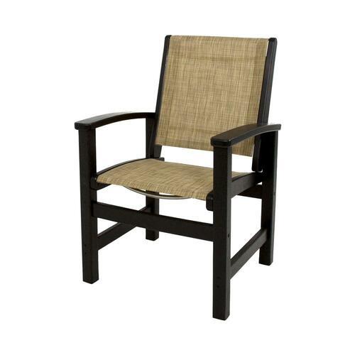 Polywood Black/Burlap Sling Coastal Patio Dining Chair