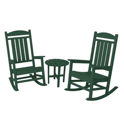 Polywood Presidential Green 3-Piece Patio Rocker Set